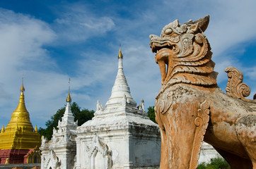 Burmese Lion standing guard over at Inwa