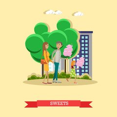 Vector illustration of happy family with cotton candy, flat style