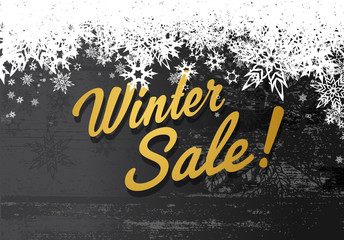 Golden winter sale illustration template with grey background an