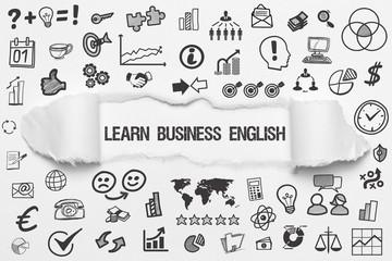 Learn Business English / weißes Papier mit Symbole