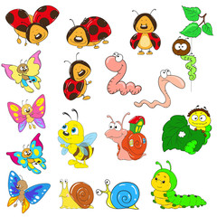 Set of cartoon characters. Insects vector. Snail, caterpillar, worm, beetle, ladybug, bee.