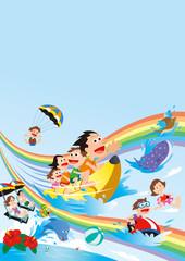 ファミリー旅行、家族旅行、家族で海水浴