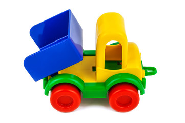 plastic toy truck on white