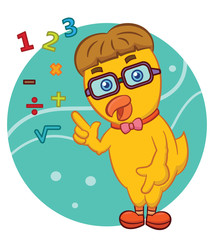 Smart Chick with Glasses with Numbers and Mathematics Symbols Cartoon Illustration on Isolated Background