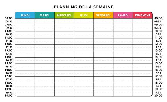 Emploi du temps. Planning semaine. Jours en couleurs.
