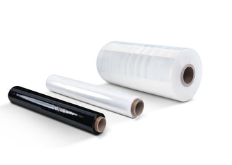 White and black stretch film at white background