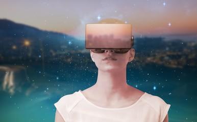 Composite image of serious woman using virtual reality simulator