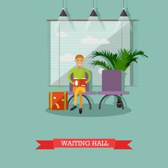 Vector illustration of passenger sitting in waiting hall, flat style.