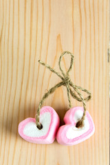 two heart shape marshmallow pink for love