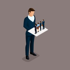 Business people isometric set of men and women, the selection of candidates for the head, the little people isolated on a dark background