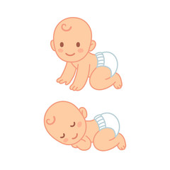 Cute cartoon baby sleeping and crawling