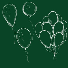Vector Set of Chalk Balloons