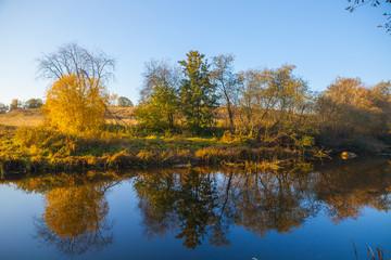 Autumn trees on the river's coast