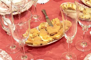 Christmas dinner table full of food