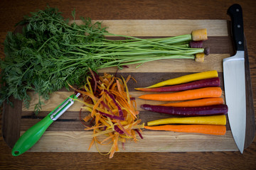 Assorted raw carrots