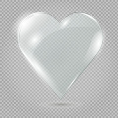 Glass heart on a transparent background, illustration.