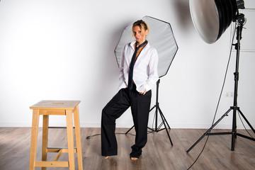 Beauty blonde woman posing in studio