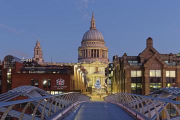 UK, London, St Paul's Cathedral and Millennium Bridge at dusk