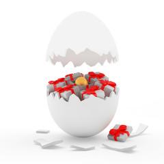 Broken white egg shall and gift boxes with golden Easter egg inside. 3D illustration