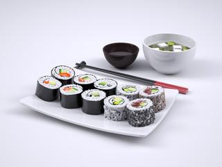 Sushi and maki roll, 3d illustration