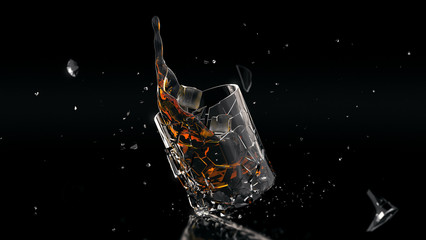 Fallen shattered glass of whiskey SUPER HIGH RES