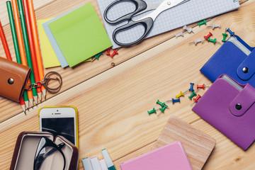 notebooks, office, scissors, pen pencils, notes