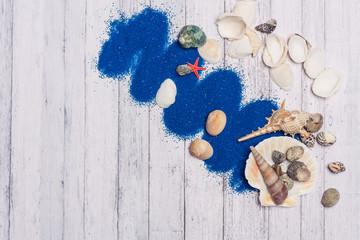 blue sand, seashells, free place