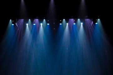 Fototapeta scene, stage light with colored spotlights