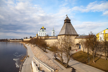 Pskov Kremlin fortress wall with beautiful embankment