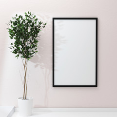 Mockup of blank frame poster and home flowers on the shelf. 3d rendering