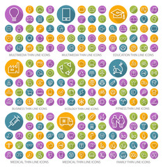 Set of 190 Universal Flat Minimalistic Thin Line Icons on Circular Colored Buttons (Multimedia, Education, Business, Ecology, Fitness, Medical and Family Icons) on White Background