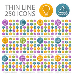 Set of 250 Universal Flat Minimalistic Thin Line Icons on Circular Colored Buttons ( Business, Multimedia, Education, Ecology, Medical, Fitness, Shopping, Construction, Transport )