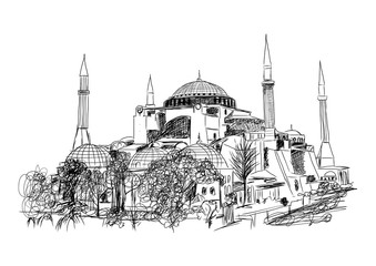 Sketch of Istanbul Mosque in Vector.