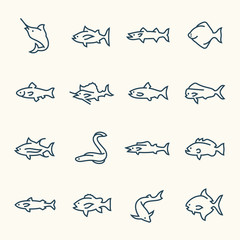 Fish line icon set