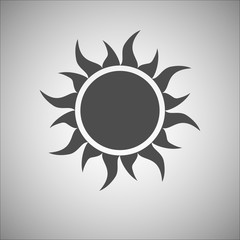 Gray sun icon. Modern simple flat sunlight, sign. Trendy vector summer symbol for website design, web button, mobile app. Logo illustration