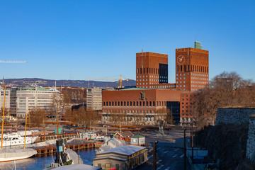 Oslo City Hall, Norway. Winter sunny day.