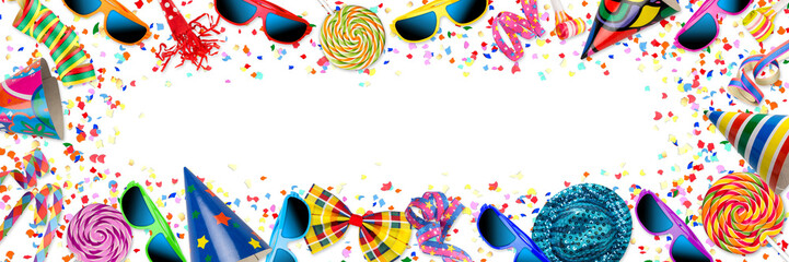 colorful party carnival birthday confetti wide panorama background pattern with streamer sunglasses hat lolly pop isolated / Kindergeburtstag Fastnacht Fasching Hintergrund mit Konfetti isoliert
