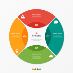 Circle chart infographic template with 4 options  for presentations, advertising, layouts, annual reports
