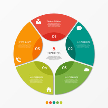 Circle chart infographic template with 5 options  for presentations, advertising, layouts, annual reports