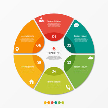 Circle chart infographic template with 6 options  for presentations, advertising, layouts, annual reports