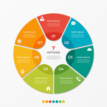 Circle chart infographic template with 7 options  for presentations, advertising, layouts, annual reports