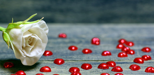 Rose flower, Small hearts scattered on the table on wooden background. Concept for banner background for St. Valentine`s day. Copyspace.
