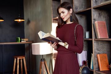 Woman business lady wear red wool dress suit fashion style