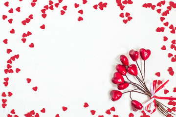Festive background with decorations in the shape of heart