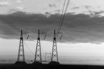 Reliance power lines. Black-white photo