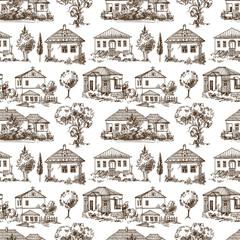 village seamless pattern