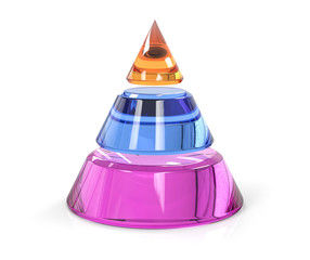 3D Isolated Three Level Pyramid Cone Hierarchy Structure Colored