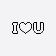 i love you text line icon