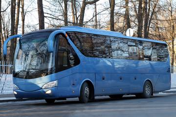 Modern blue bus.