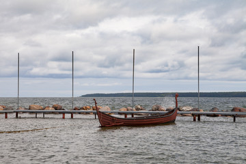 Old style wooden fishing boat in the Baltic Sea